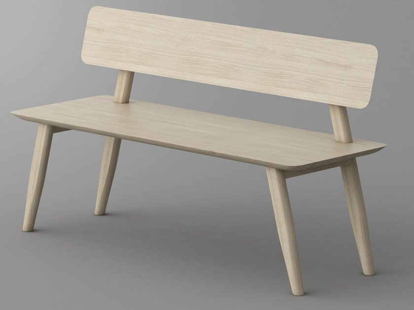 Solid wood bench with back AETAS | Bench with back by Vitamin Design