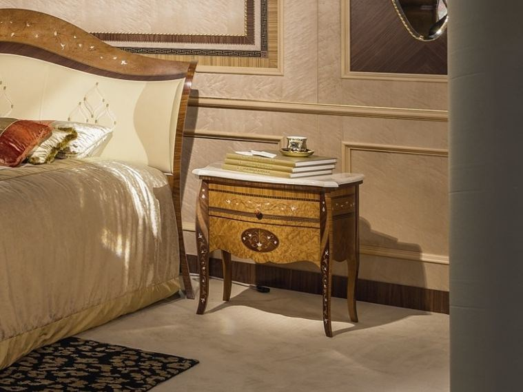 Lacquered wooden bedside table with drawers ARTS | Bedside table by Carpanelli Classic