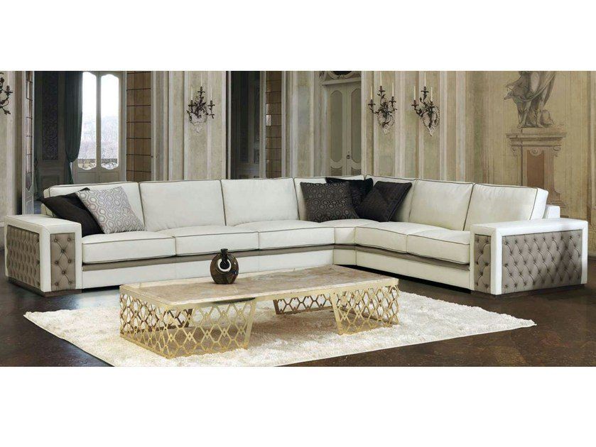 Corner tufted leather sofa REVELATION by Formenti