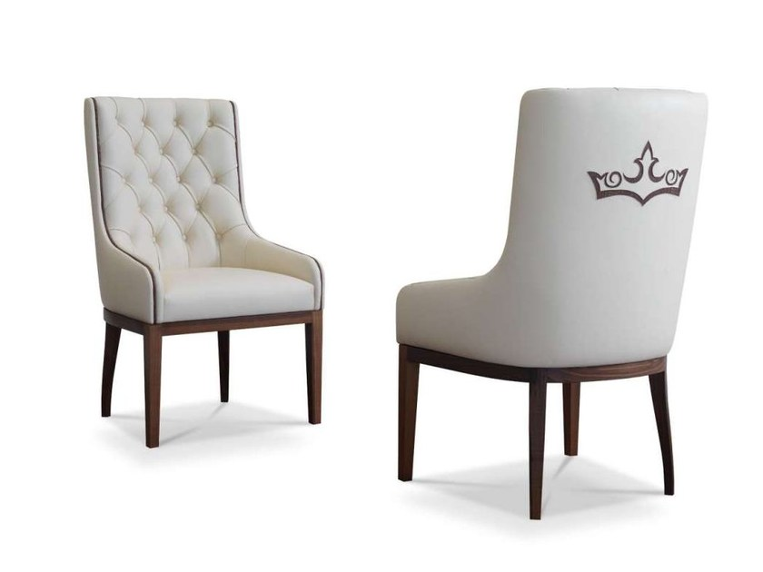 Tufted upholstered leather chair POEM by Formenti