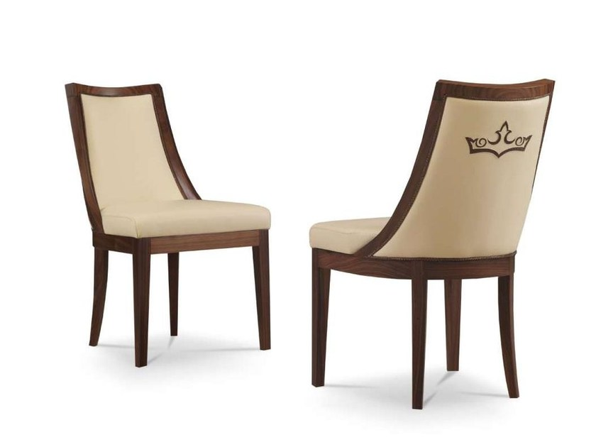 Upholstered leather chair RHYME by Formenti