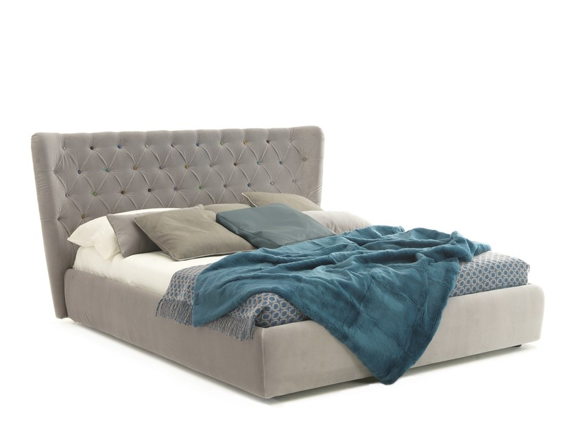 Double bed with tufted headboard SELENE by Bolzan Letti