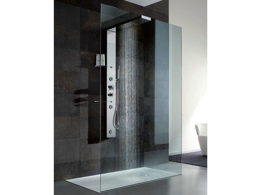 Multifunction crystal and steel shower cabin BRISTOL BOX 1 by Gruppo Geromin