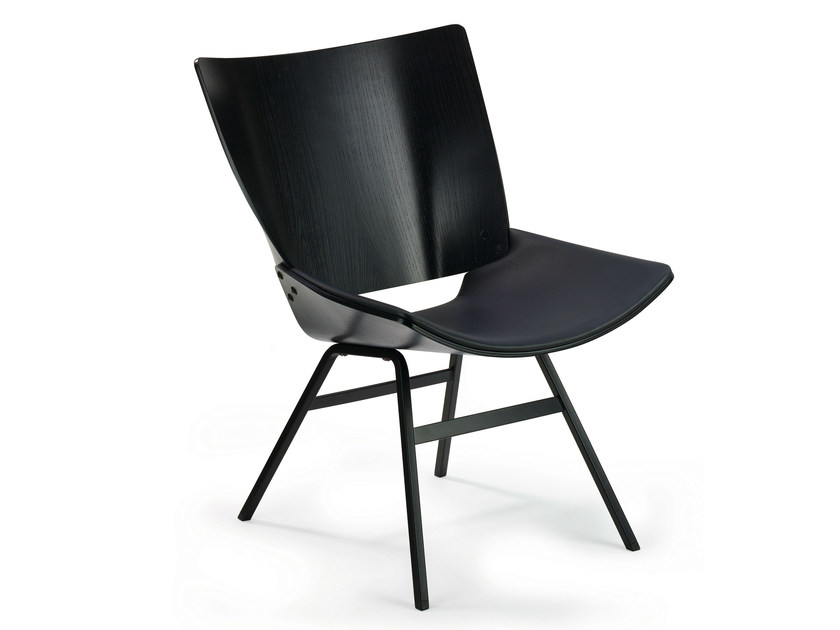 Chair with wooden shell upholstered with leather SHELL LOUNGE LEATHER by Rex Kralj