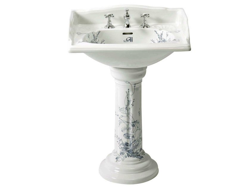 Pedestal porcelain washbasin VICTORIAN | basin blu decorated pedestal by GENTRY HOME