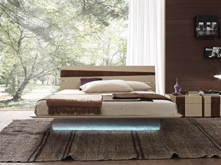 Lacquered wooden double bed TANGO WOOD by Presotto