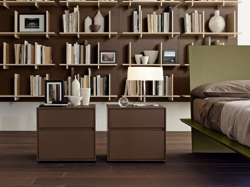 Lacquered wooden bedside table with drawers BOX   Bedside table by Presotto