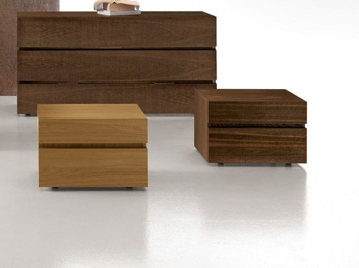 Lacquered rectangular wooden bedside table with drawers CLUB 2 | Bedside table by Presotto