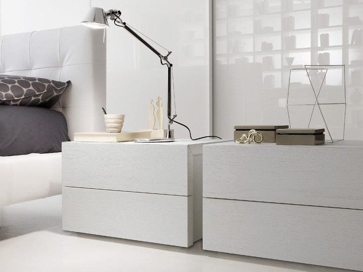 Lacquered rectangular wooden bedside table ELLE | Bedside table by Presotto