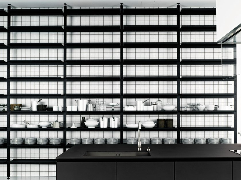 Floor-ceiling mounted shelving unit BROMPTON | Shelving unit by Boffi