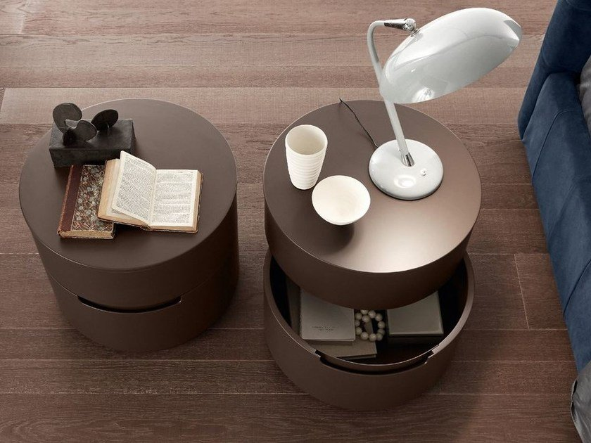 Lacquered round wooden bedside table with drawers GLOBO 2 | Bedside table by Presotto