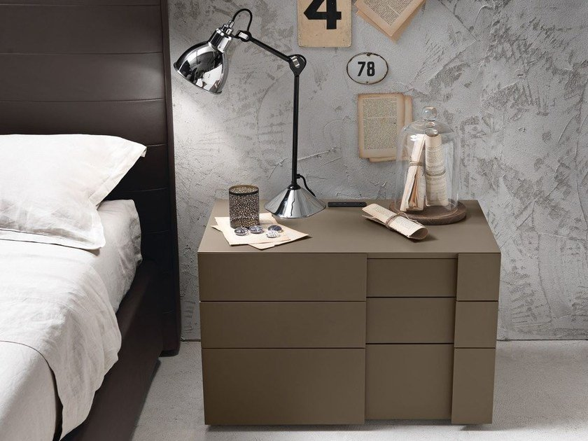 Lacquered bedside table with drawers INSIDE   Bedside table by Presotto