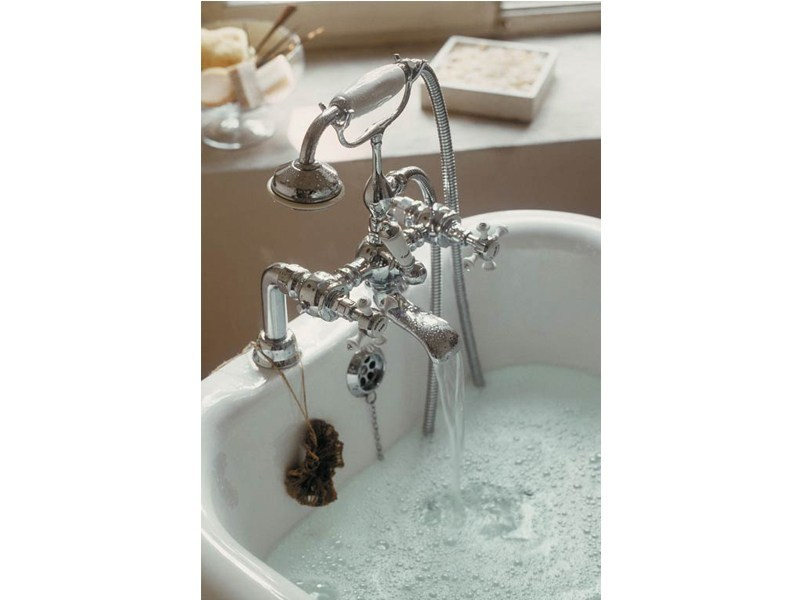 Classic style 3 hole metal bathtub tap with hand shower CHELSEA | deck mounted bath mixer by GENTRY HOME