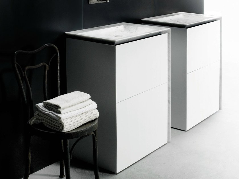 Single Corian® vanity unit with drawers B15 | Corian® vanity unit by Boffi