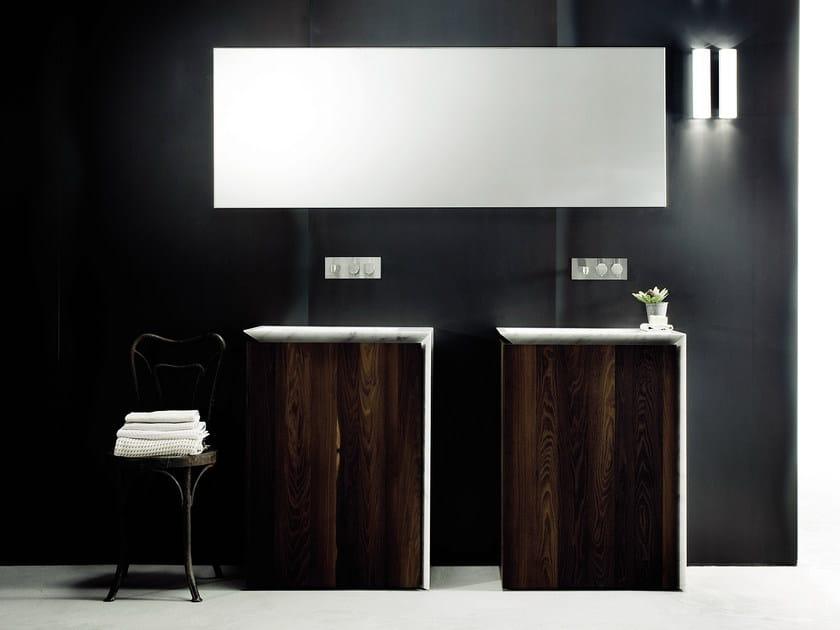 Single wood veneer vanity unit with drawers B15 | Wood veneer vanity unit by Boffi