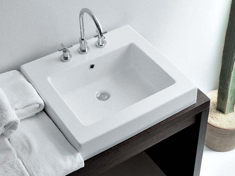 Inset square ceramic washbasin with overflow ACQUAGRANDE 60 | Inset washbasin by CERAMICA FLAMINIA