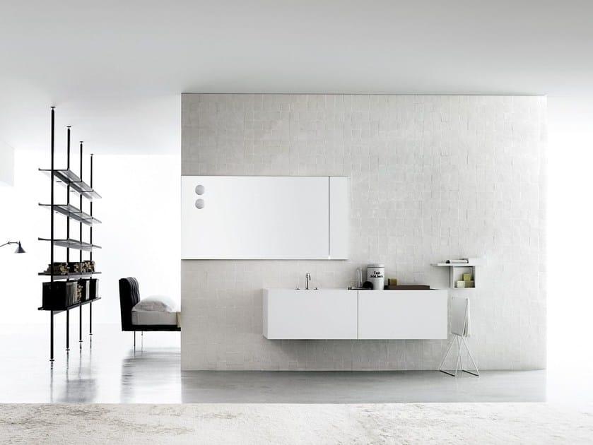 Single wall-mounted Corian® vanity unit B20 / B21 by Boffi