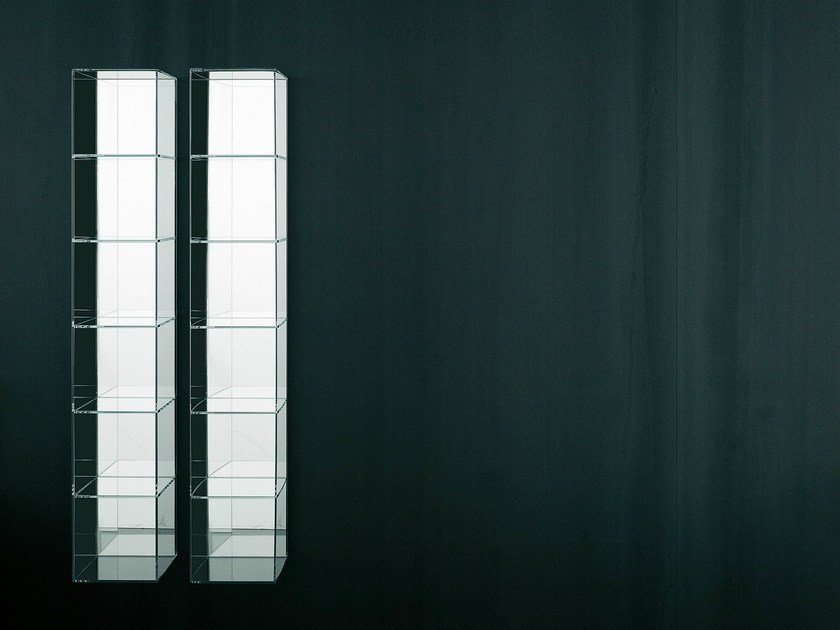 Tall open wall cabinet with mirror GLASS by Boffi