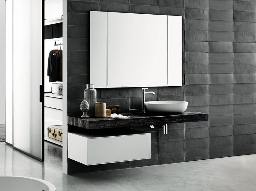 Contemporary style wooden washbasin countertop FLYER   Walnut washbasin countertop by Boffi