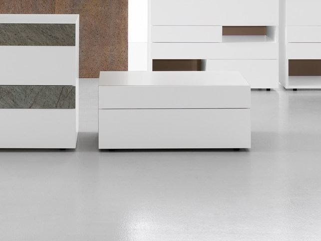Lacquered wooden bedside table with drawers WING | Bedside table with drawers by Presotto