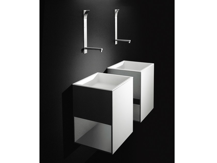 Single wall-mounted Cristalplant® washbasin BOX by Boffi