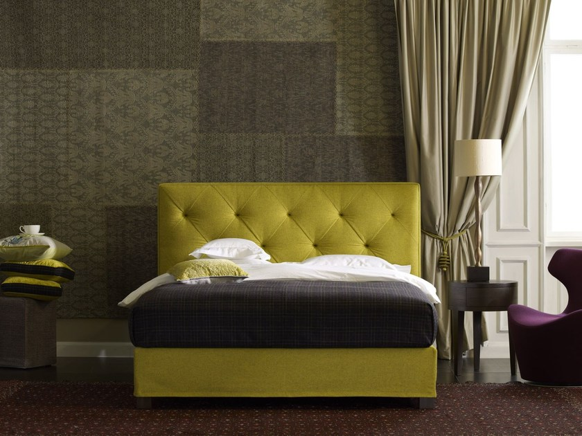 Double bed with tufted headboard Basis 18 + OPAL by Schramm Werkstätten
