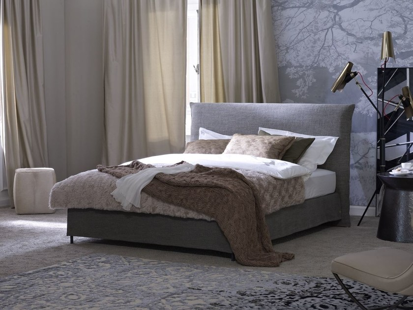 Double bed with removable cover with upholstered headboard Basis 18 + PABLO by Schramm Werkstätten