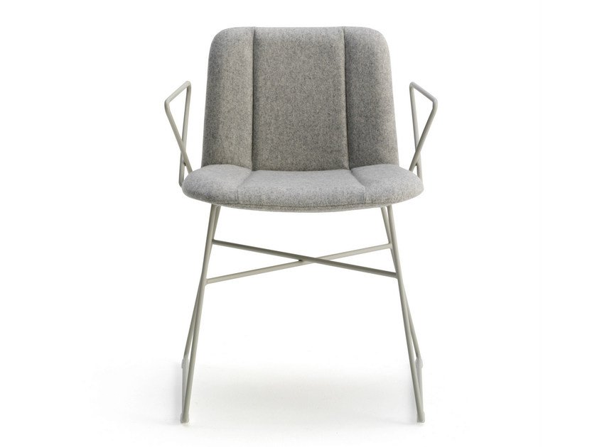 Sled base fabric chair with armrests HIPPY | Sled base chair by BILLIANI