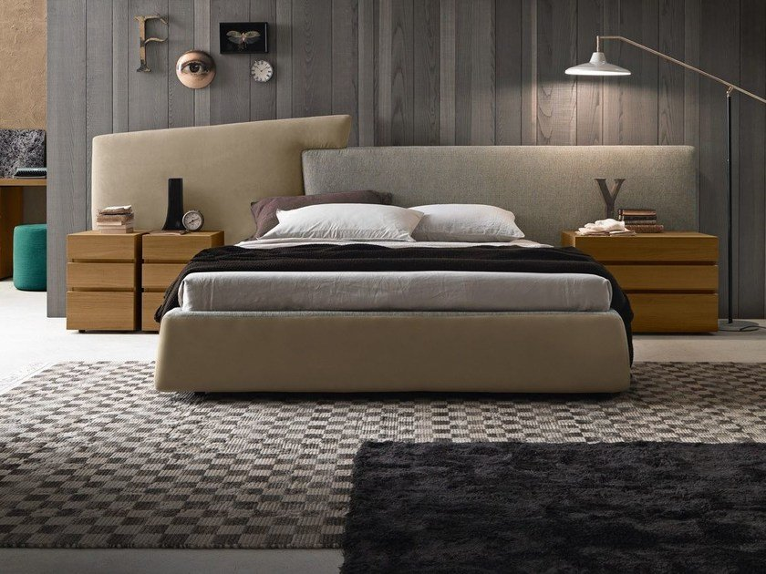 Fabric storage bed with upholstered headboard WING SYSTEM TALL by Presotto