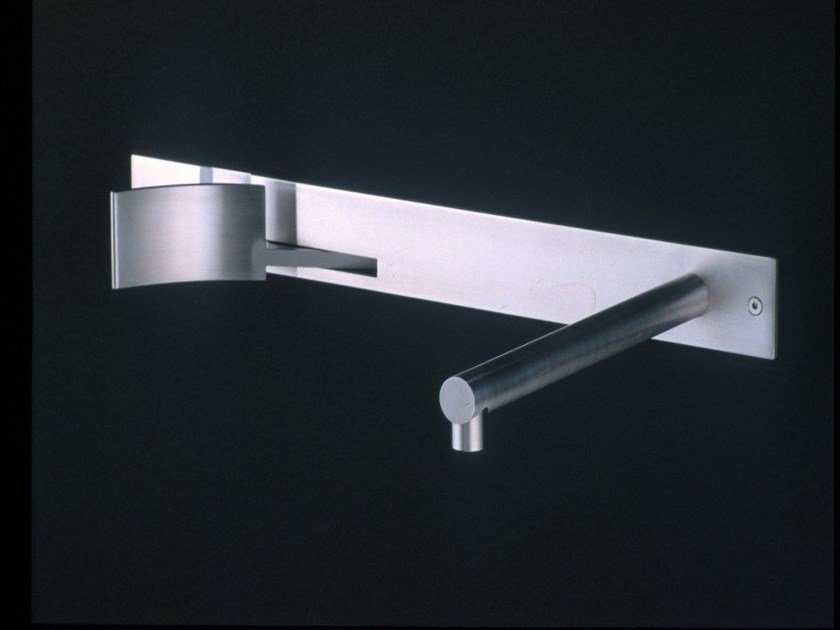 Wall-mounted stainless steel washbasin tap CUT | Washbasin tap by Boffi