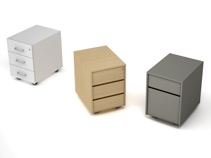 Wooden office drawer unit with casters Wooden office drawer unit by ESTEL GROUP
