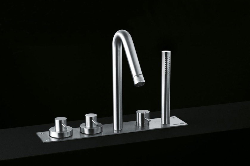 Stainless steel bathtub tap with hand shower MINIMAL   Bathtub tap by Boffi