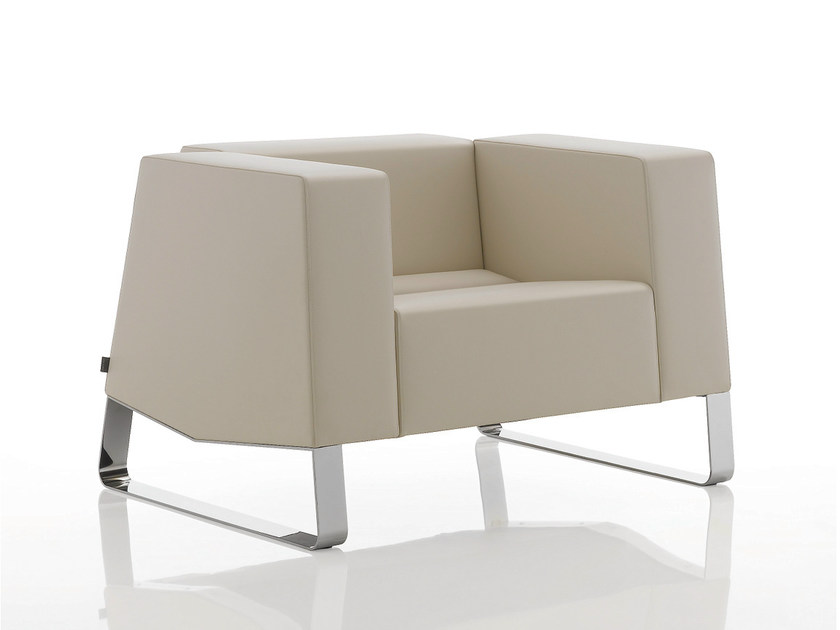 Sled base upholstered leather armchair with armrests INKA STEEL F 200 ST by BILLIANI