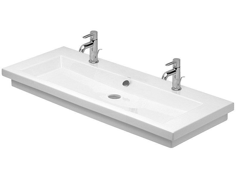 Double rectangular washbasin with overflow 2ND FLOOR | Double washbasin by Duravit