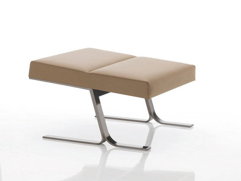 Upholstered leather stool INKA STEEL S 50 ST S by Billiani