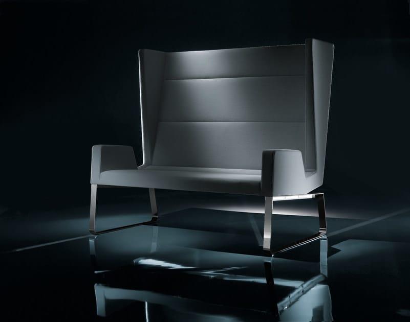 Sled base high-back leather sofa INKA STEEL S 200 ST D by BILLIANI