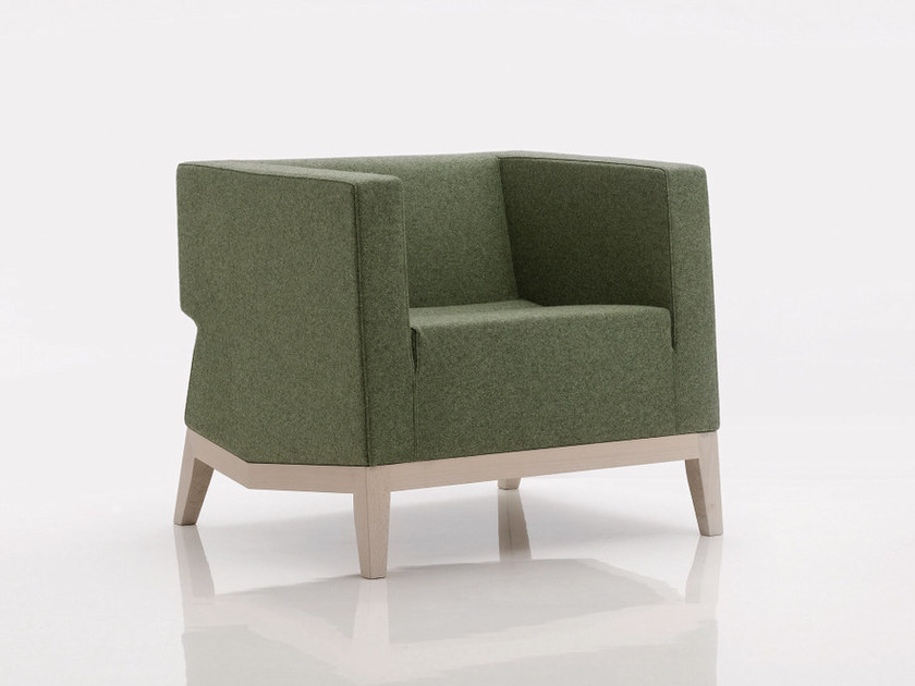 Upholstered fabric armchair with armrests INKA WOOD D 200 by BILLIANI