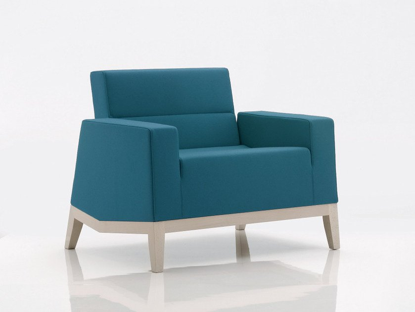 Upholstered fabric armchair with armrests INKA WOOD E 200 by BILLIANI
