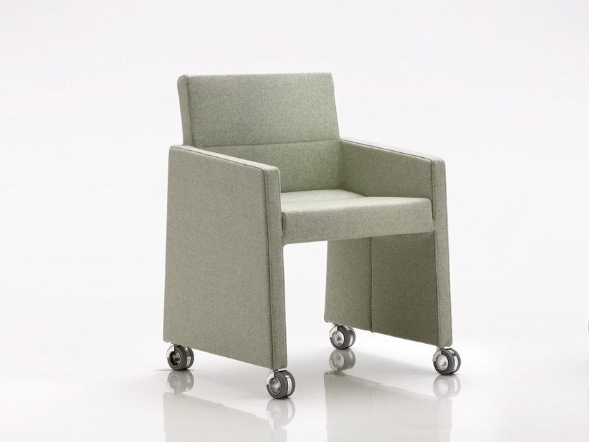 Upholstered easy chair with armrests with casters INKA WOOD B 300 R by BILLIANI