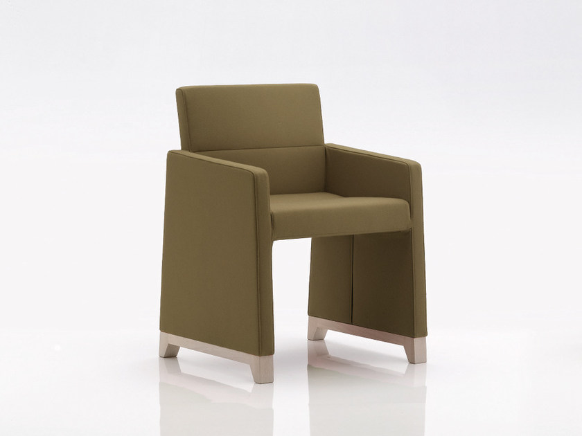 Upholstered fabric easy chair with armrests INKA WOOD B 300 by BILLIANI
