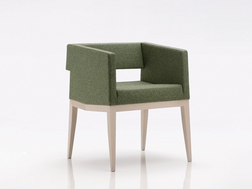 Upholstered fabric easy chair with armrests INKA WOOD C 200 by BILLIANI