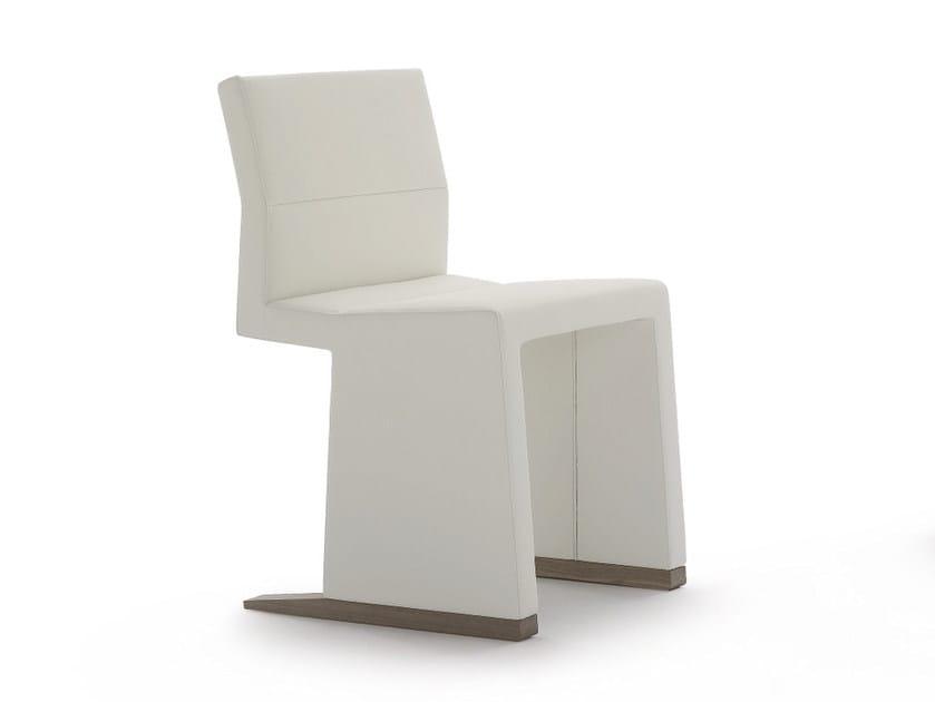 Sled base upholstered leather chair INKA WOOD P 100 by BILLIANI