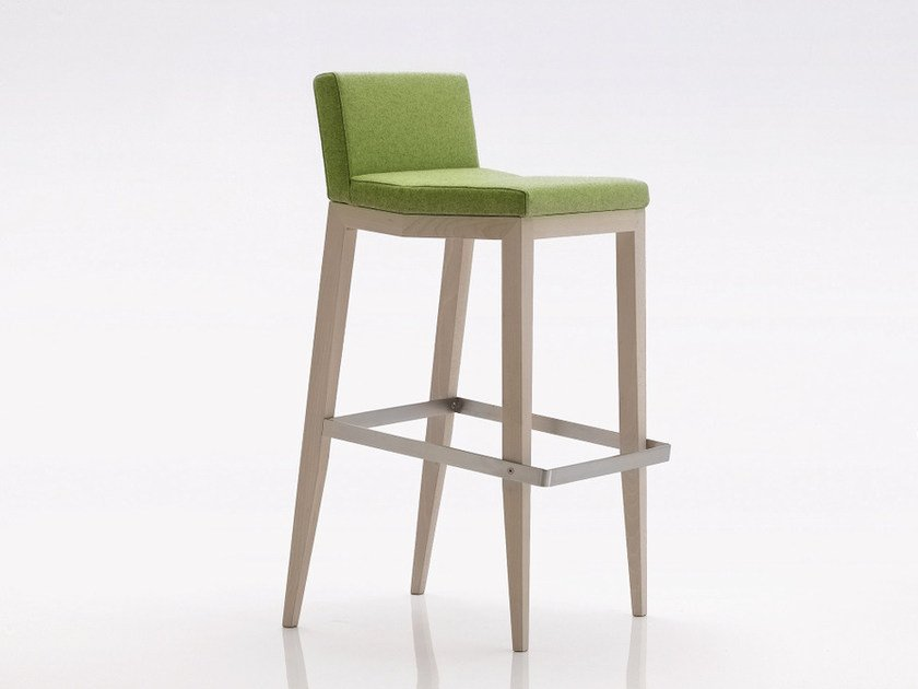 High upholstered stool with back INKA WOOD A 300 SS by BILLIANI