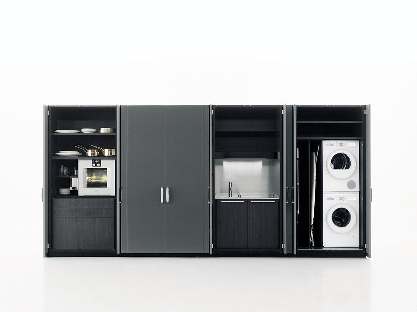 Cucina / mobile lavanderia in legno HIDE By Boffi design Piero Lissoni
