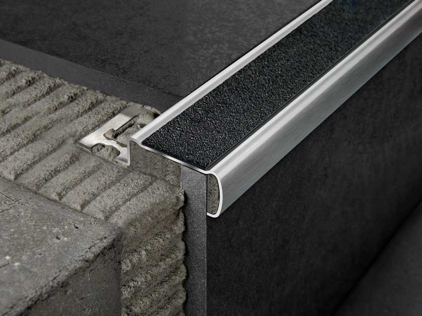 Brushed steel Step nosing PROSTAIR GRIP ACC by PROGRESS PROFILES