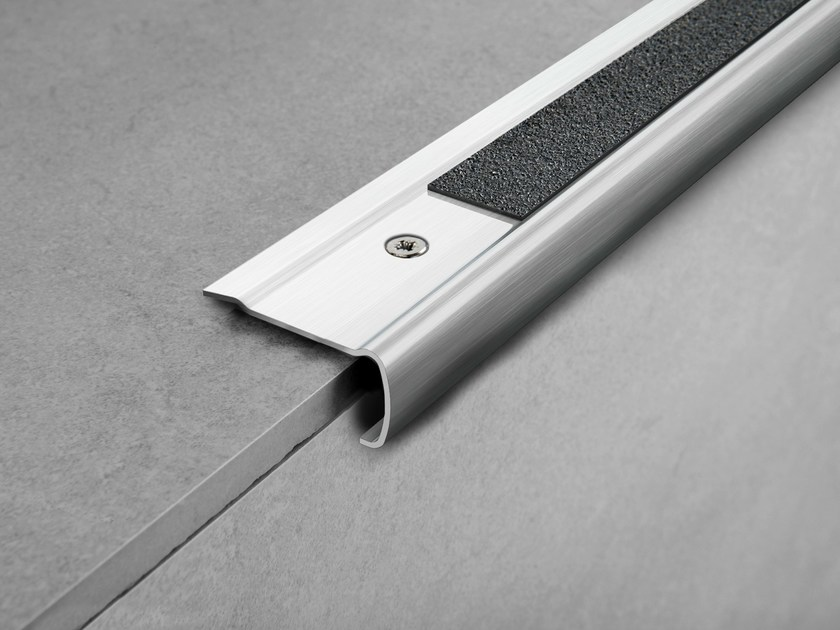 Brushed steel Step nosing PROSTYLE GRIP ACC by PROGRESS PROFILES