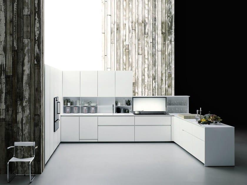 Corian® kitchen with peninsula without handles XILA by Boffi