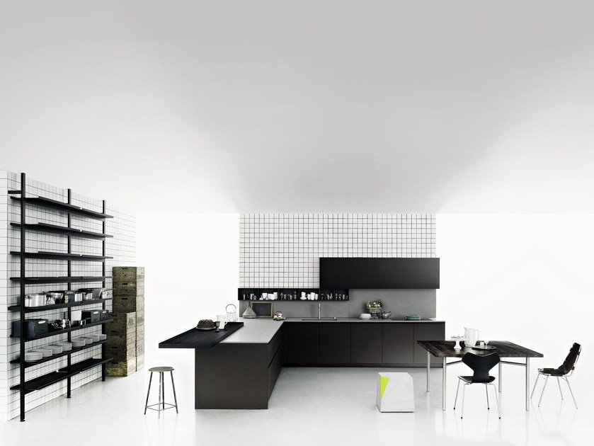 Kitchen with peninsula without handles XILA by Boffi