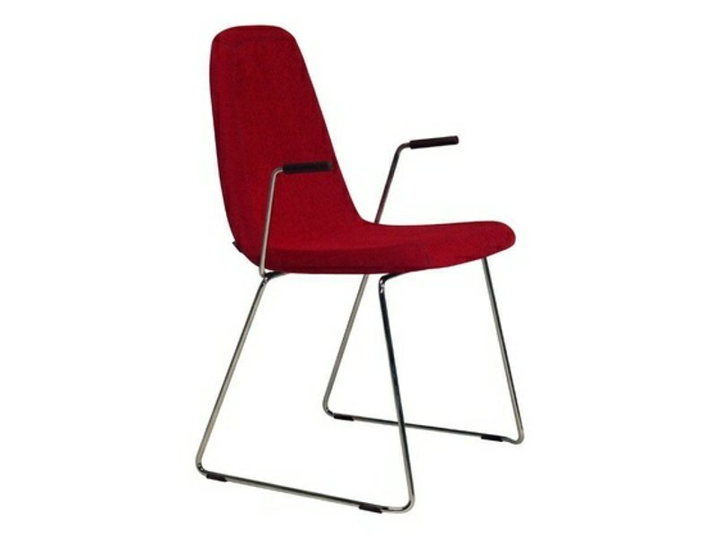 Sled base upholstered leather chair with armrests GAME   Chair with armrests by Johanson Design