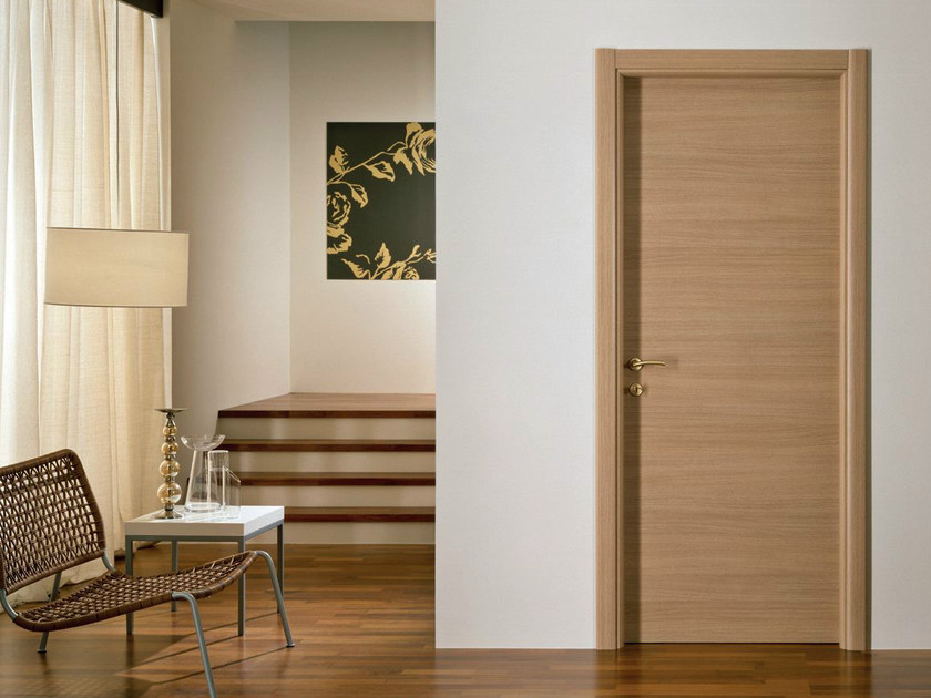 Hinged melamine-faced chipboard door XOSIA | Oak door by GIDEA